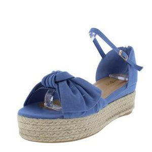 NWT Blue Knotted Open Toe Ankle Strap Wedge